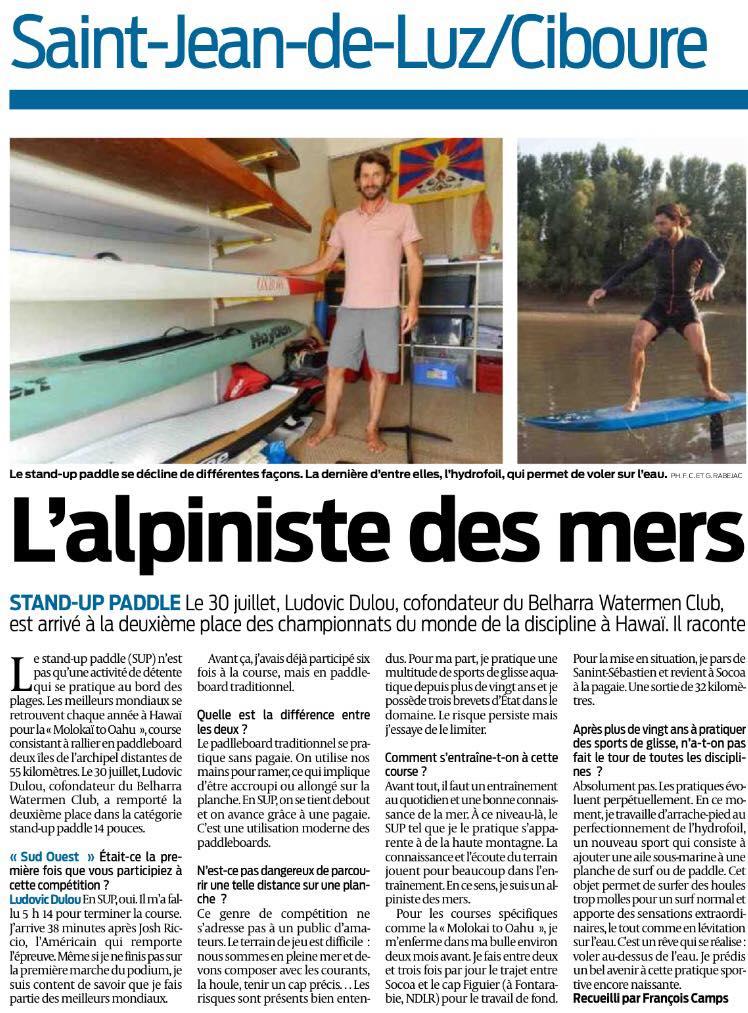 Ludovic Dulou dans Sud Ouest
